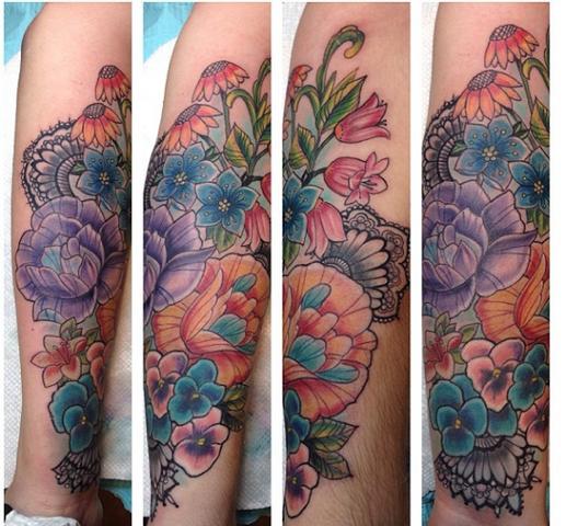 color botanical tattoo
